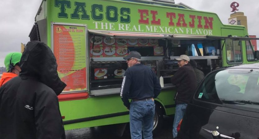 Taco truck saves drivers stranded by tanker rollover