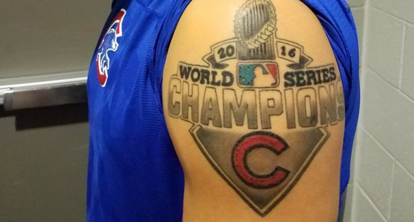 Javy baez got a big new tattoo to celebrate the cubs for World series tattoo