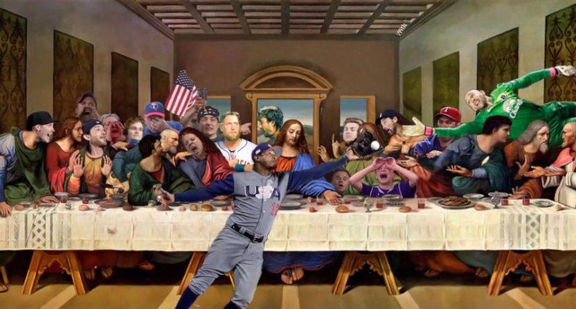 Adam Jones Last Supper 832x447 this sports meme version of leonardo da vinci's last supper painting