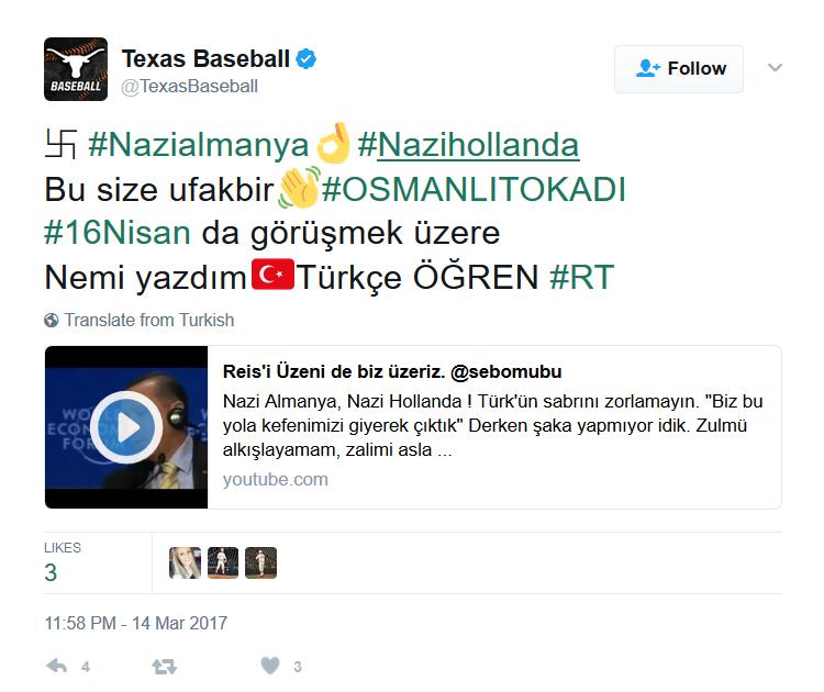 Texas baseball tweet