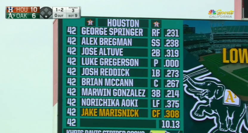 The Houston Astros' lineup in the bottom of the ninth Saturday.