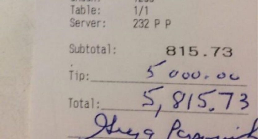 Is A  Tip Good For A  Restaurant Bill