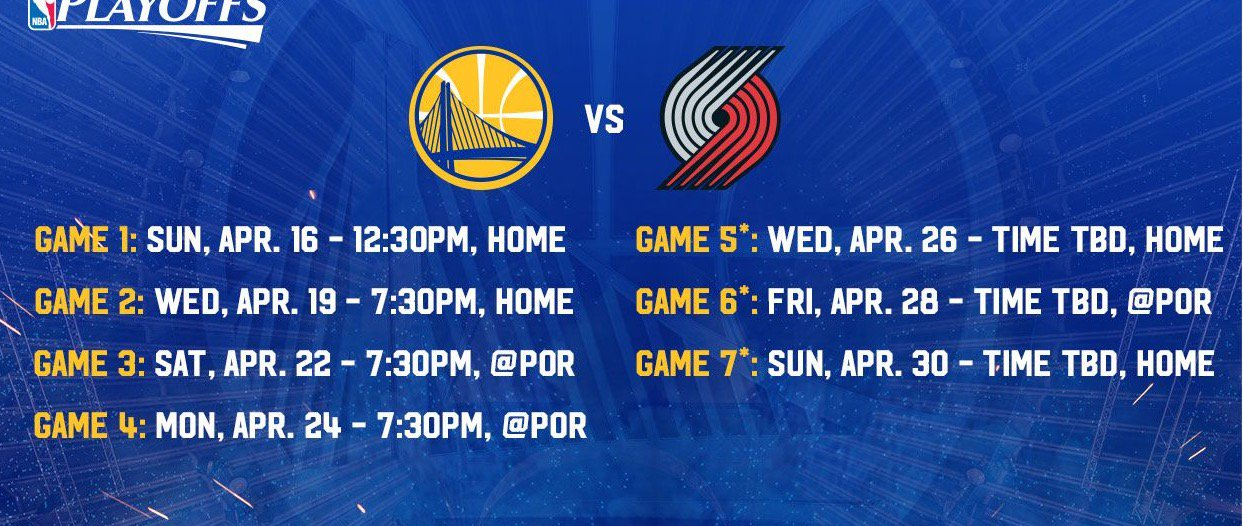 Warriors Blazers playoff schedule