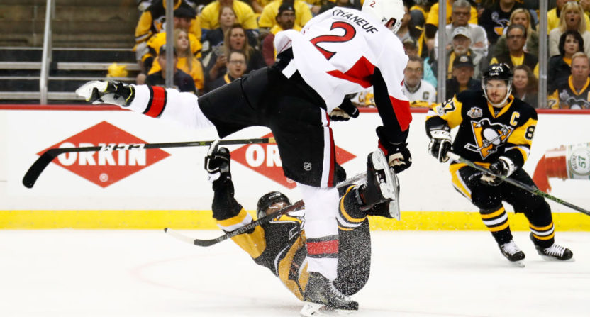Senators' Dion Phaneuf absolutely crushes Bryan Rust with open-ice hit
