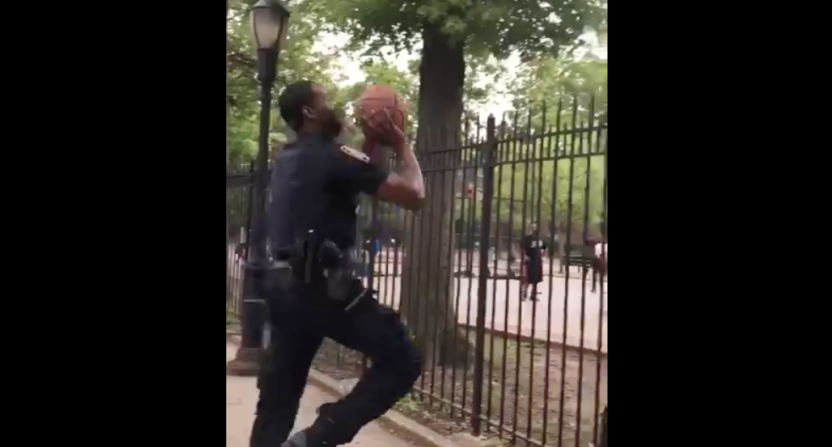 NYPD officer in Bronx shows young basketball players how it's done