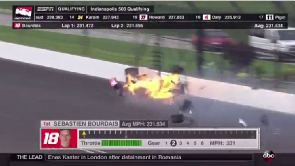 sebastien bourdais suffers multiple fractures in brutal crash during indianapolis 500 qualifying. Black Bedroom Furniture Sets. Home Design Ideas