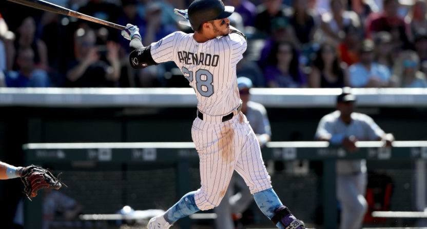 Nolan Arenado celebrates his walkoff HR that gave him the cycle.