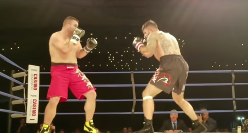Adam Braidwood (L) knocked out Tim Hague Friday. Hague later died.