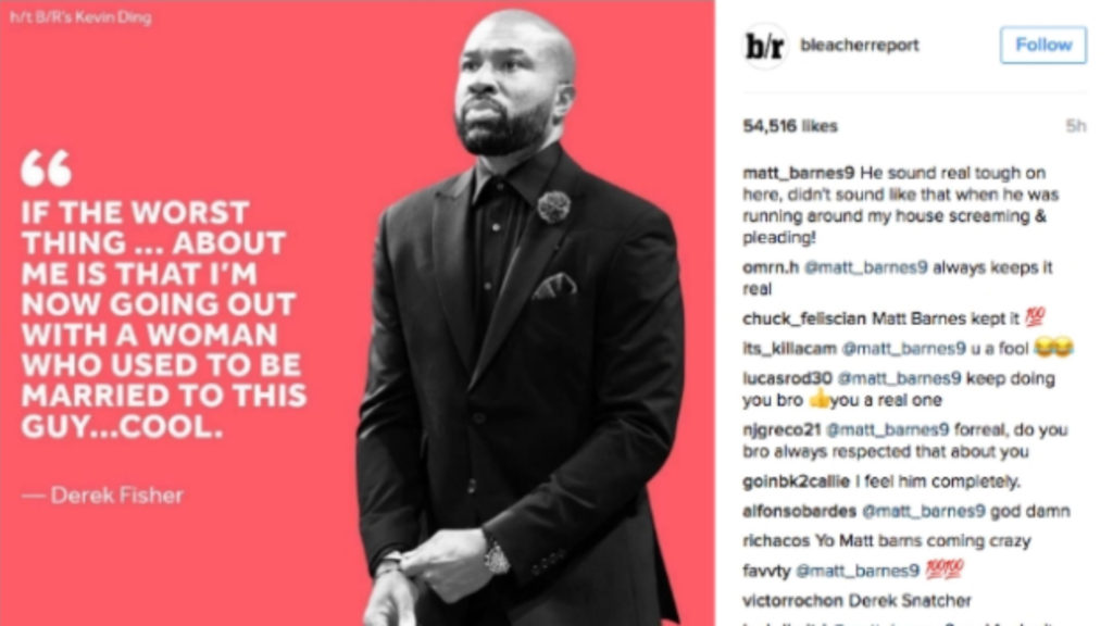 Matt Barnes comments on Bleacher Report's Derek Fisher quote.