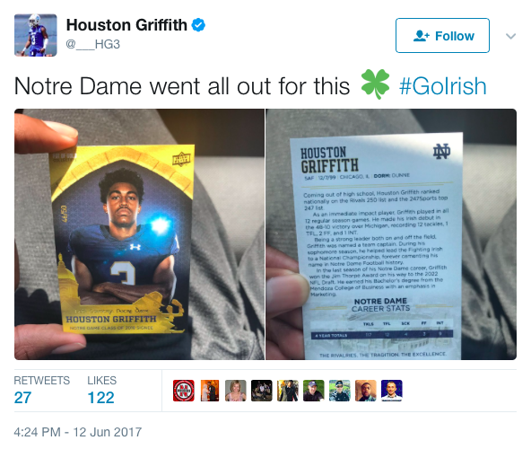 Notre Dame recruiting letter predicts 48-10 win over MI in 2018