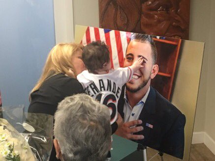 Jose Fernandez's family visited the Marlins' clubhouse in memory of the pitcher