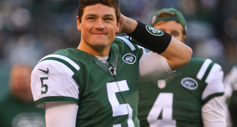 Christian Hackenberg, seen in January 2017, had an awful preseason game Saturday, August 19 against Detroit.