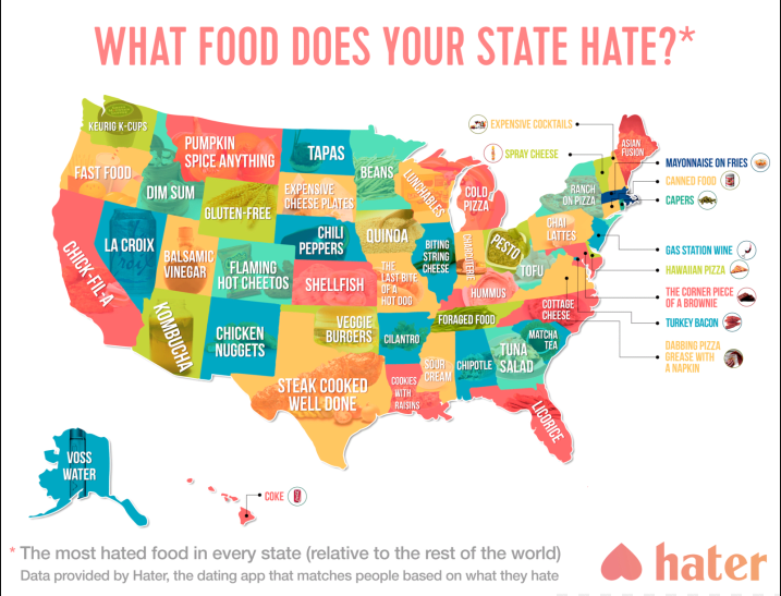 From Tapas To Turkey Bacon Heres What Food Your State Hates The Most - Us stereotypes map