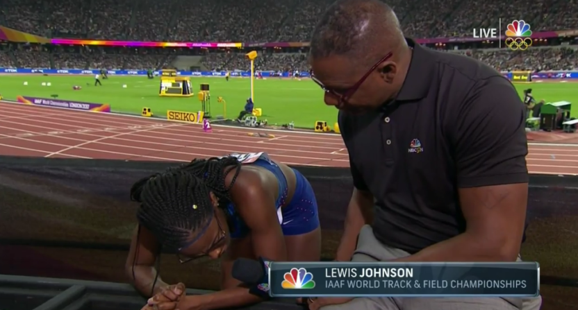 NBC's Lewis Johnson tried to interview Shamier Little before she regained her breath.