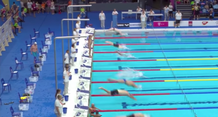 Spanish swimmer Fernando Alvarez takes a minute silence before World Championships final