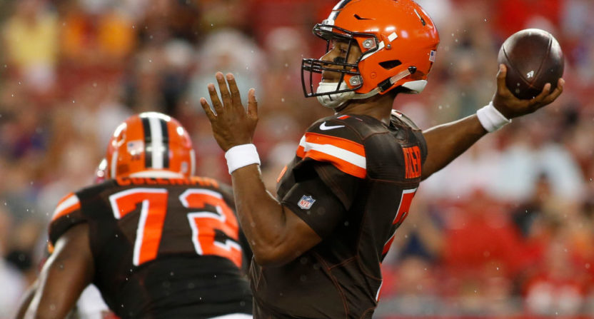 Browns' top pick Garrett injures ankle during practice