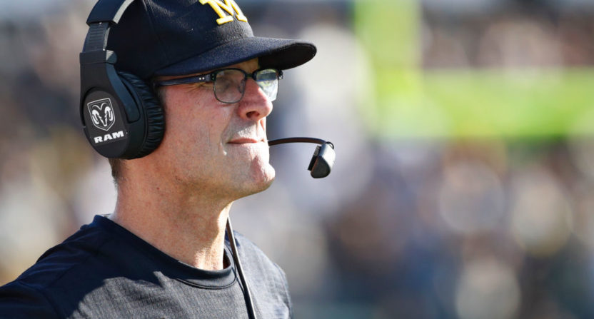 Michigan's Harbaugh incensed after trip to Purdue