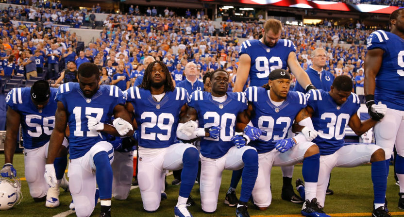 Members of the Colts kneeling in protest before a Sept. 24 game against Cleveland.