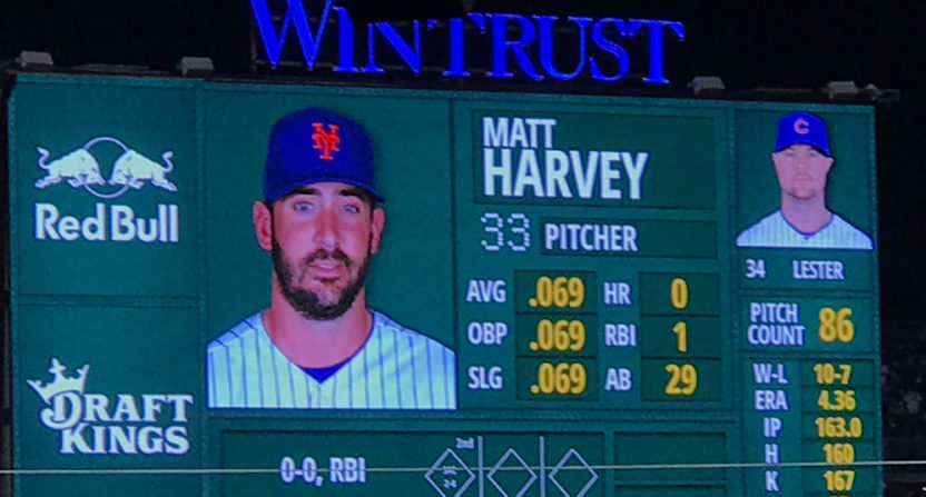 Matt Harvey's slash line