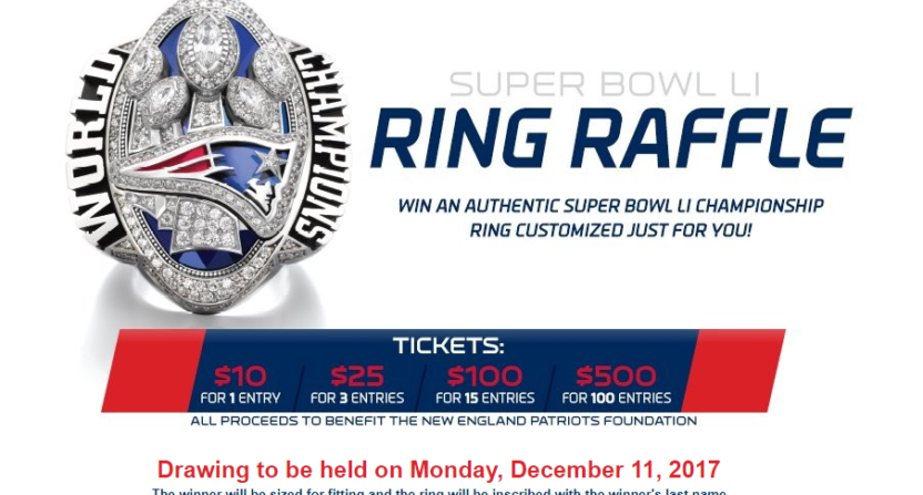 The Patriots are raffling off an authentic Super Bowl LI ring.