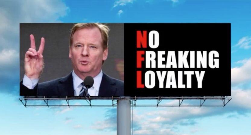 Giant billboard bashing National Football League  will be up in LA for 3 weeks
