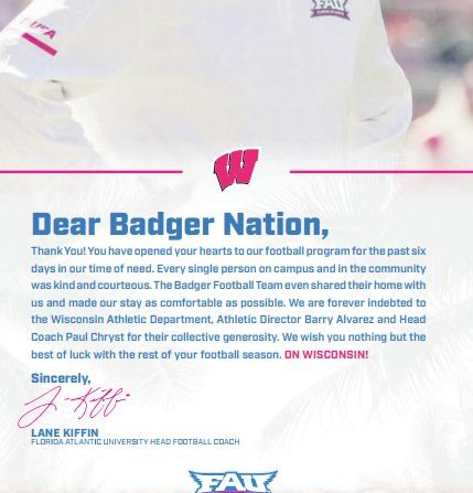 Lane Kiffin takes newspaper ad thanking Wisconsin for hurricane hospitality