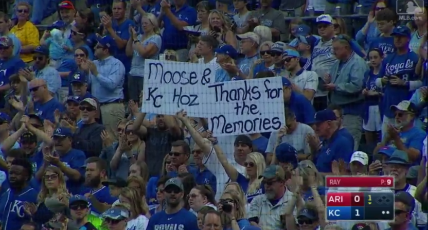Eric Hosmer and Mike Moustakas were honored with signs like this one and prominent ovations. Hosmer then hit a home run.