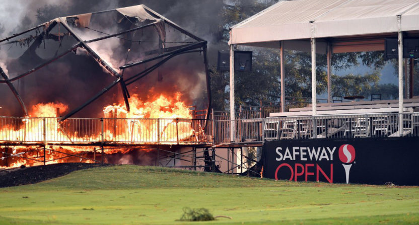 The Safeway Open grandstands at the Silverado Country Club and Spa burned Monday.