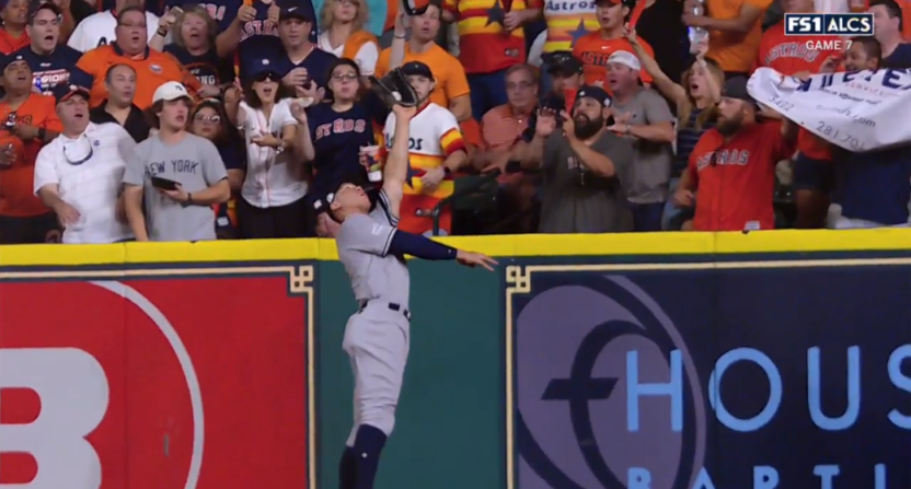 Aaron Judge lept above the wall to rob this HR.