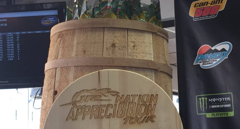 Dale Earnhardt Jr. was given this barrel of pickles by the Phoenix International Raceway.