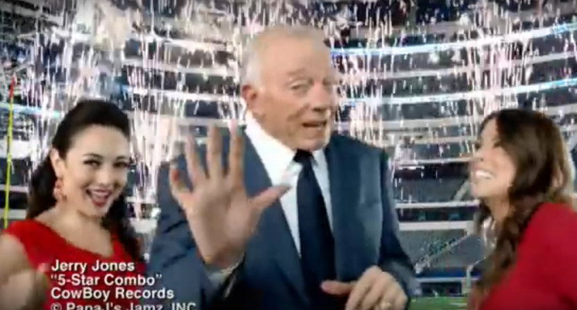 Jerry Jones owns over 100 Papa John's franchises, and appeared in this rap commercial for them a few years back.