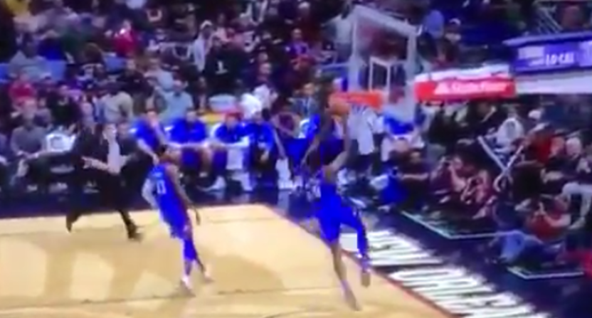 This Paul George bounce pass worked out well.