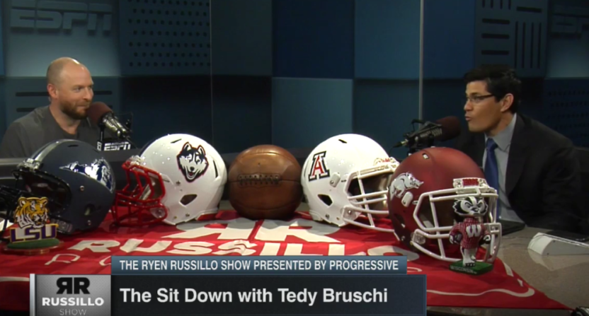 Tedy Bruschi (R) told Ryen Russillo about how he broke Drew Bledsoe's finger.