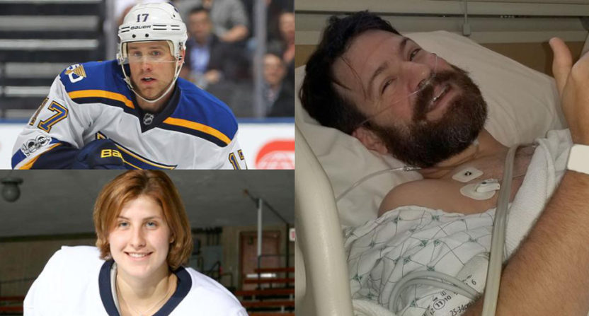 In 2013, the Blues held a bone marrow registration night in honor of forward Jaden Schwartz (top left)'s sister Mandi (bottom left). Michael Hellrich signed up, and four years later, was matched with a recipient who needed his marrow.