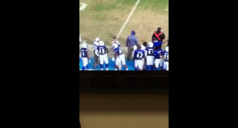 College Football Player Punches Out Coach On The Sideline