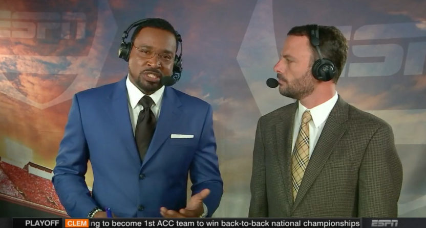 Andre Ware (L) and Taylor Zarzour were among those questioning Music City Bowl calls.