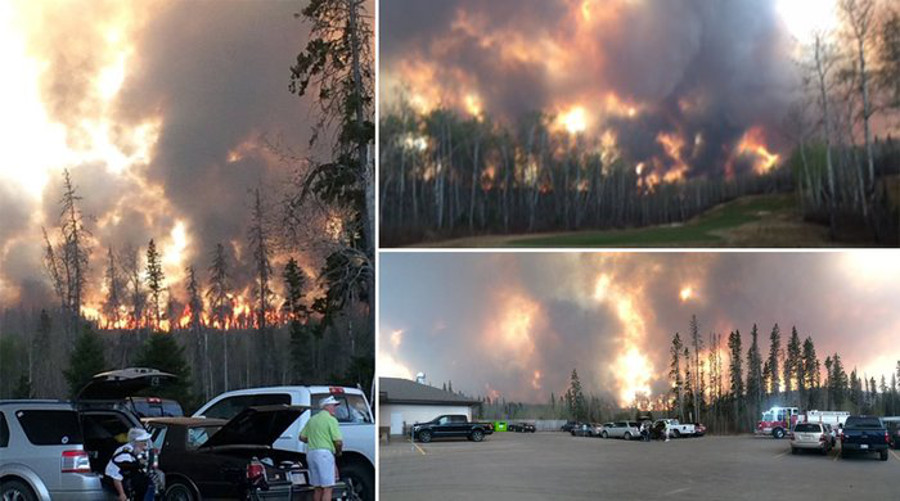 Fires seen at the Fort McMurray Golf Club in May 2016, shortly before it was evacuated.