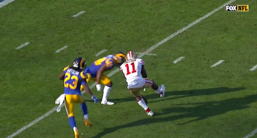 Marquise Goodwin left the game with a concussion after this hit.