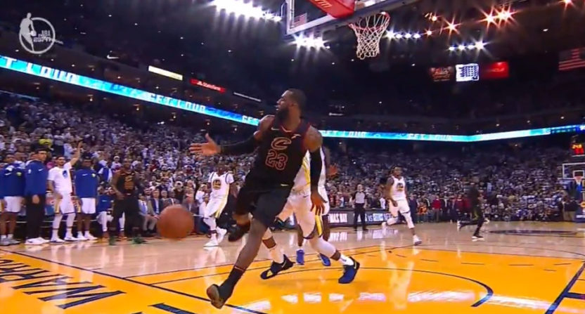 LeBron James lobbies for a foul against the Warriors.
