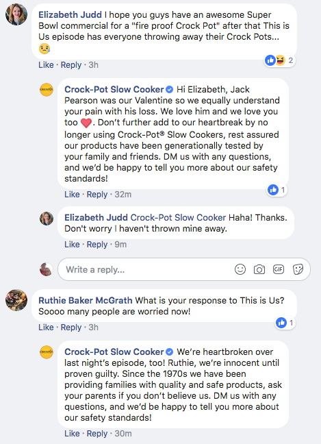 How Crock-Pot responded on Facebook.