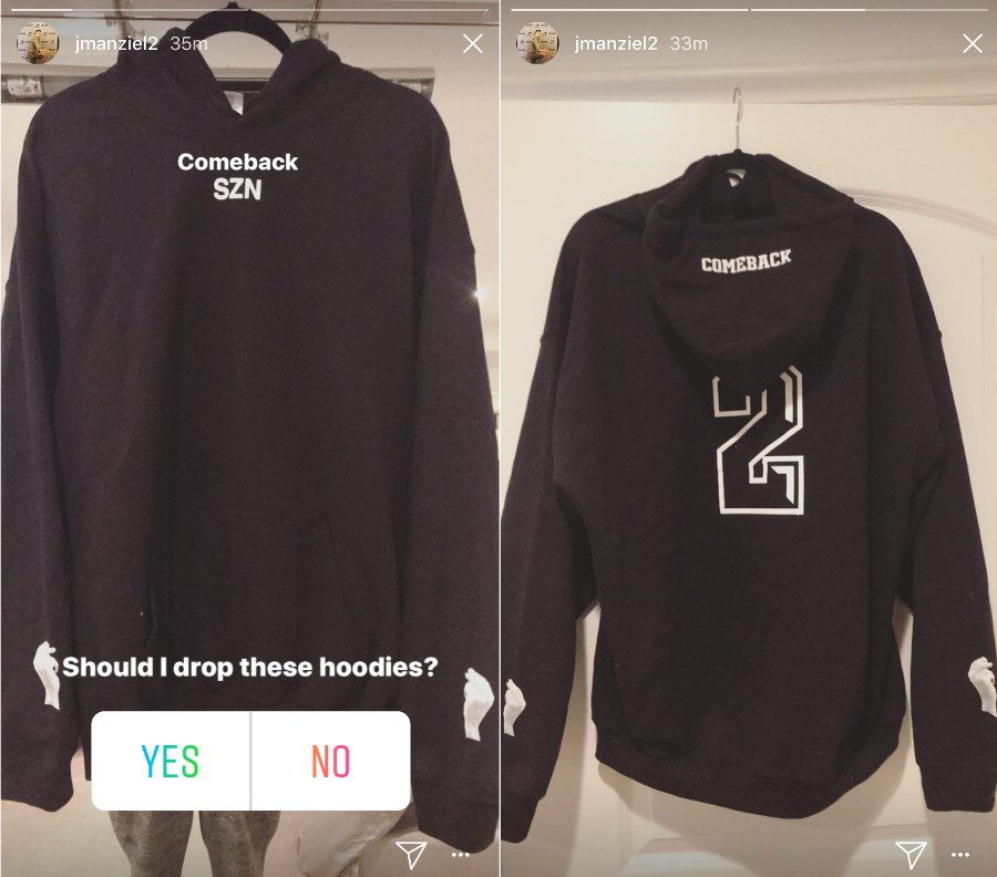 "Johnny Manziel's proposed ""Comeback SZN"" hoodies."