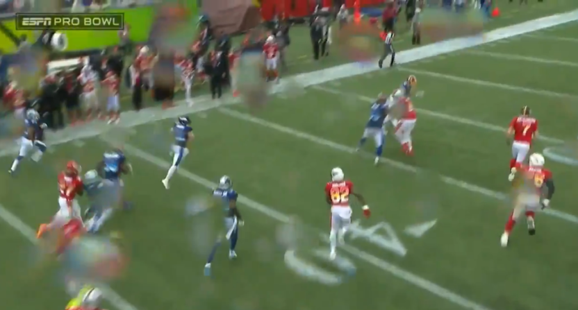 The Pro Bowl doesn't have much tackling effort, as shown on Harrison Smith's pick-six.