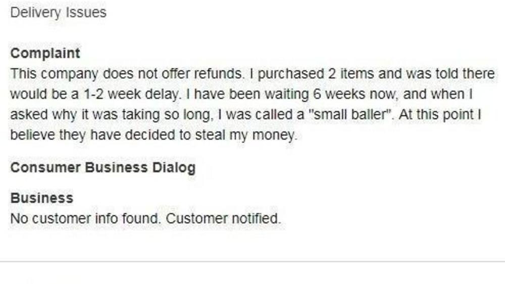 A complaint about Big Baller Brand.