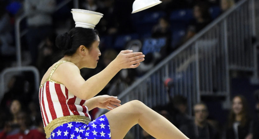 Crimson Panda, on backup unicycle, set to carry out at Hinkle Fieldhouse