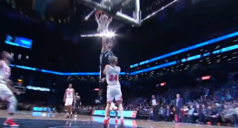 Jarrett Allen dunks on Lauri Markkanen.