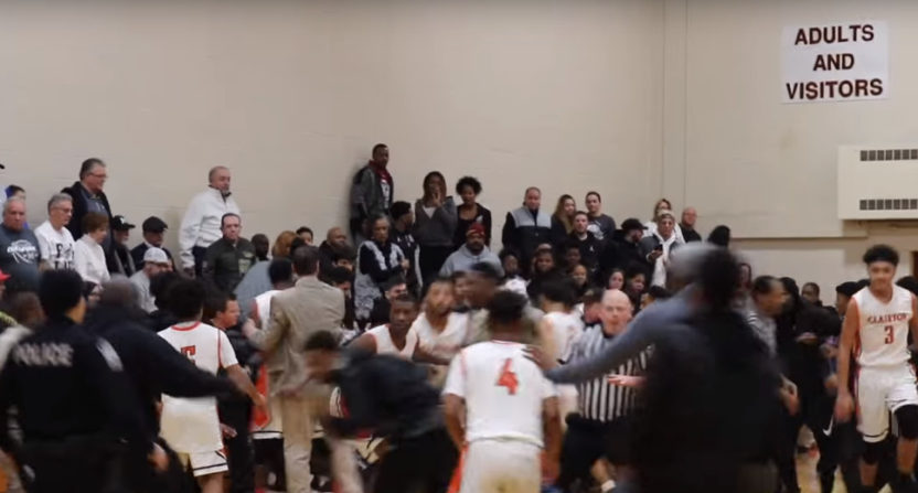 A brawl started during this high school basketball game in Pittsburgh.