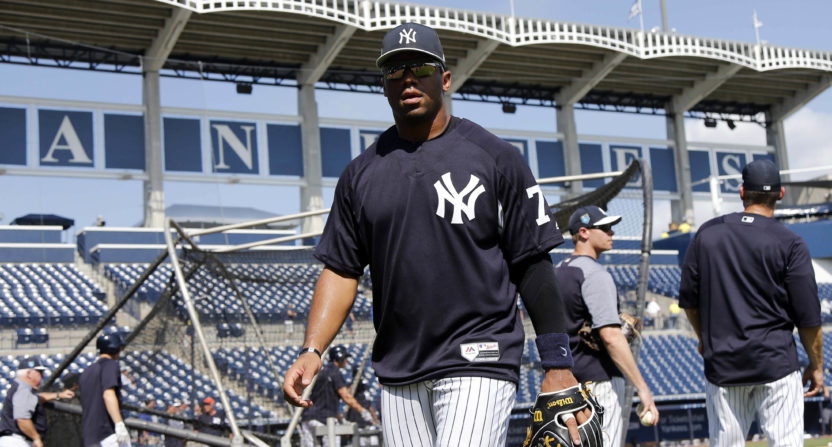 Russell Wilson takes at-bat for Yankees during Friday's game