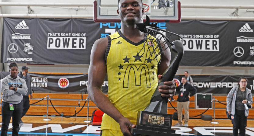 Future Duke forward Zion Williamson wins McDonald's Slam Dunk Contest