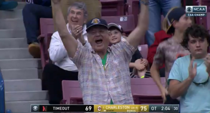Bill Murray cheers on the College of Charleston Cougars in overtime.