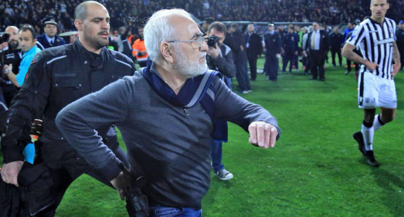 The Greek Superleague was suspended after PAOK owner/president Ivan Savvidis stormed the pitch with a gun Sunday.